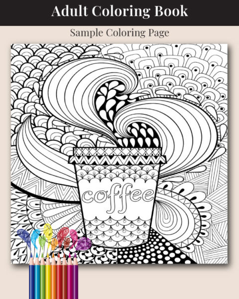 The Adult Coloring Book for Coffee Lovers Sample Coloring Page