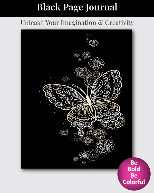 Black Page Notebook with Lined and Blank Pages Cover Art