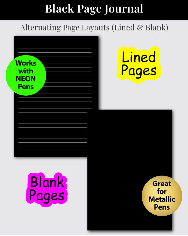 Black Page Notebook with Lined and Blank Pages Sample Pages