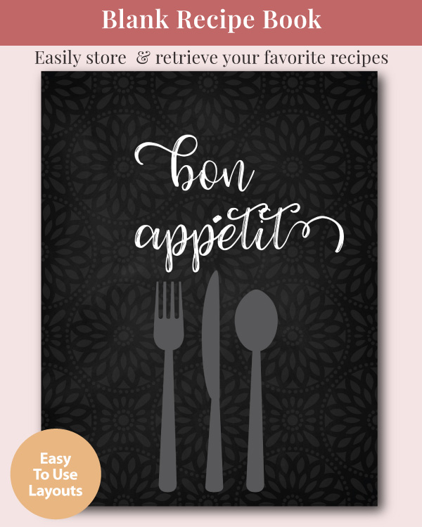 "A blank recipe journal that says ""Bon Appetit"
