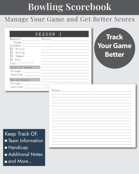 Bowling Scorekeeper League Info and Notes Layouts