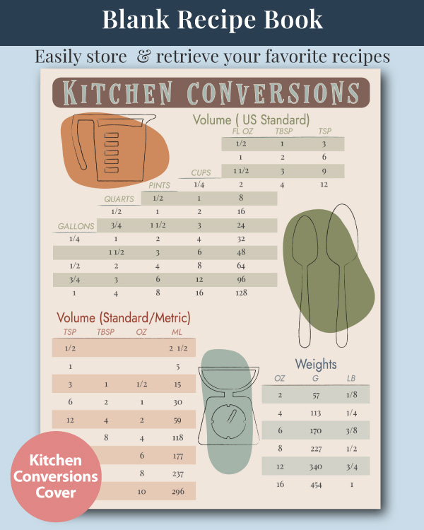 The CN+J Blank Recipe Journal with Kitchen Conversions Chart Cover