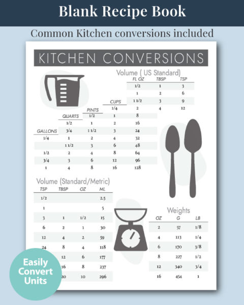 The CN+J Blank Recipe Journal with Kitchen Conversions Chart