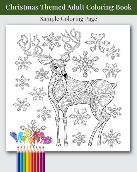 Christmas Themed Adult Coloring Book Sample Image
