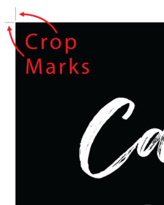 Example of Crop Marks - Black area represents artwork and the 2 lines in the upper left are the crop marks.