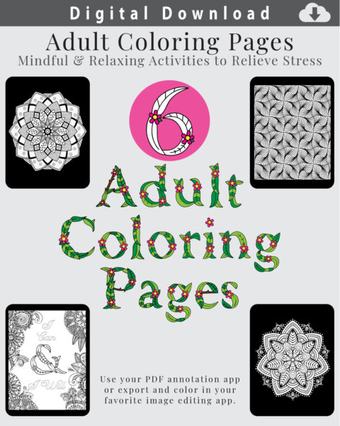Digital Adult Coloring Page Layouts