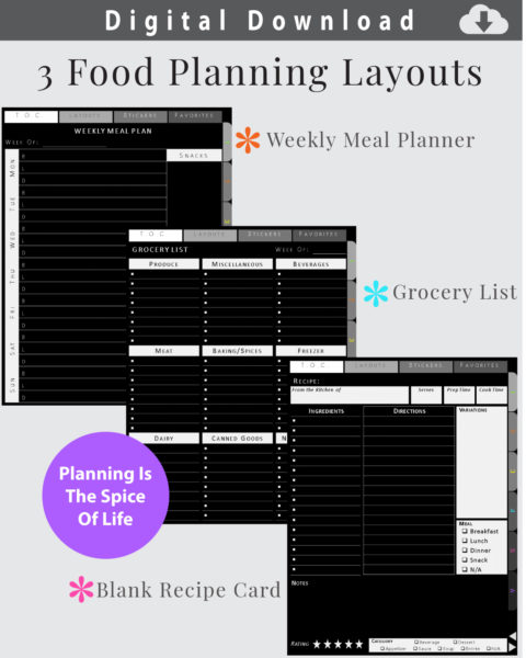Food Planner Layouts