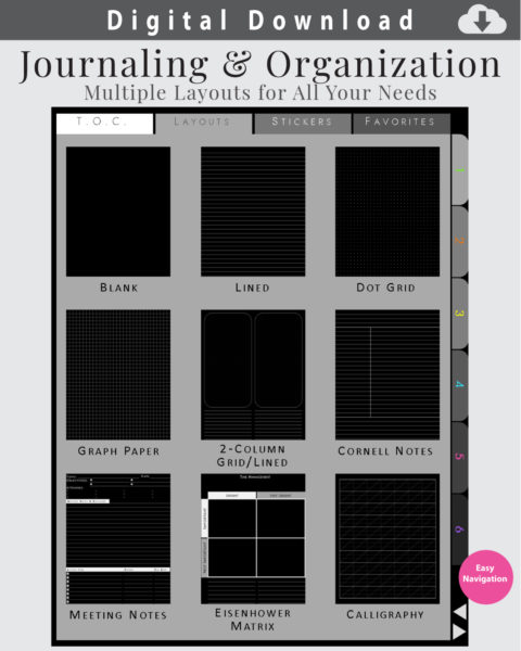 Multiple Page Layouts for Journaling and Organization