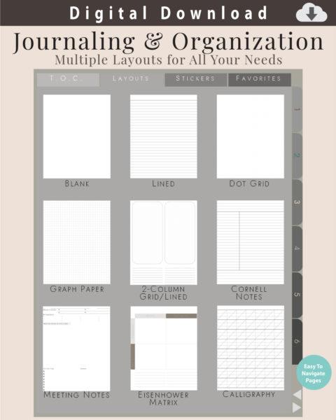 Digital Notebook Sample Layouts