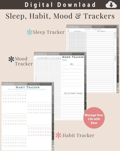 Digital Notebook Habit, Sleep, and Mood Trackers