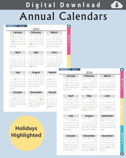 Digital Planner Two Year Calendar Layout