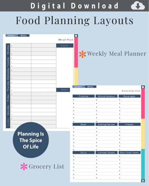 Digital Grocery List and Weekly Meal Planner Layouts