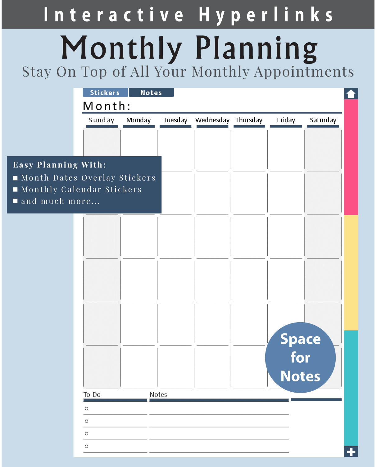Digital-Planner-Undated-Monthly-Layout