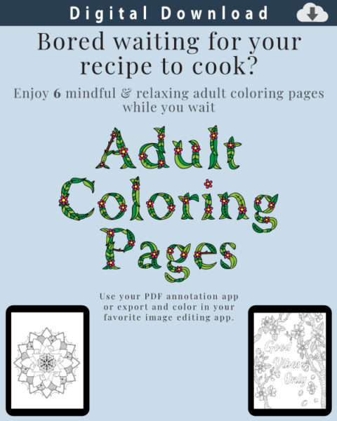 Digital Recipe Organizer Adult Coloring Pages