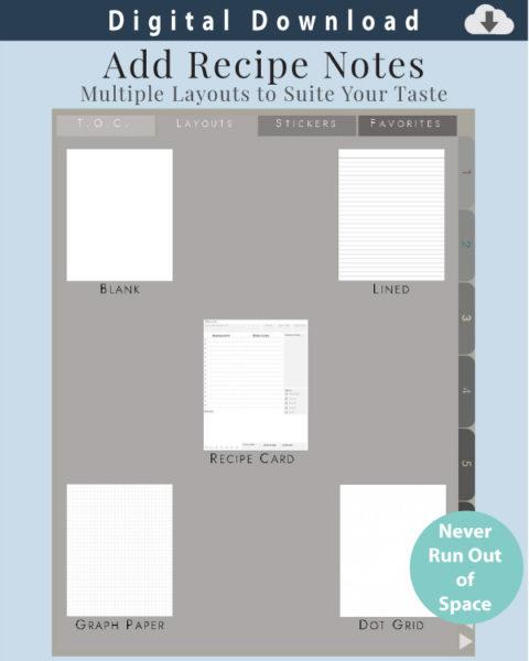 Digital Recipe Organizer Layout Options