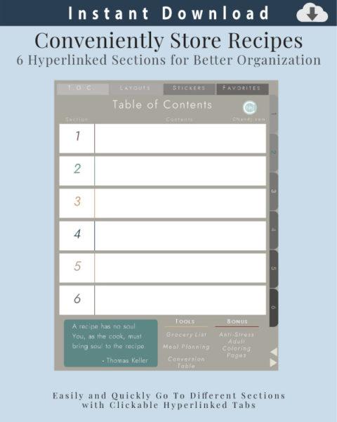 Digital Recipe Organizer Table of Contents