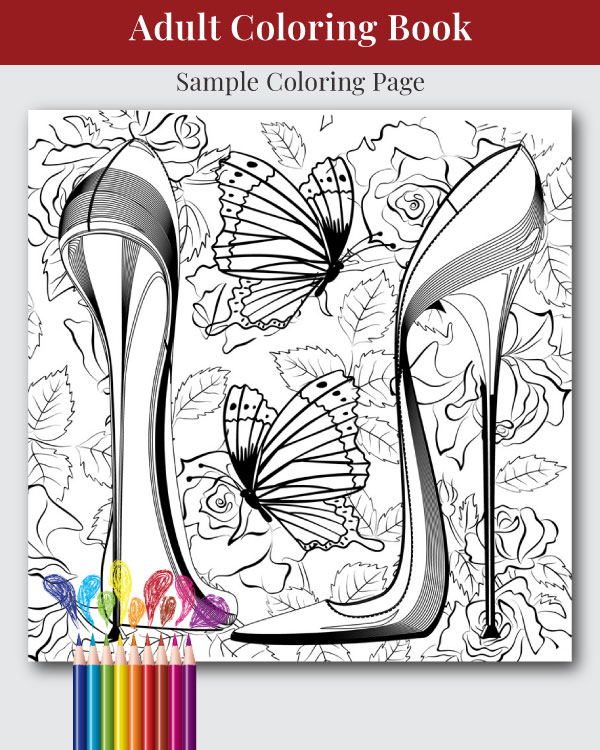 Head Over Heals Adult Coloring Book Sample Image