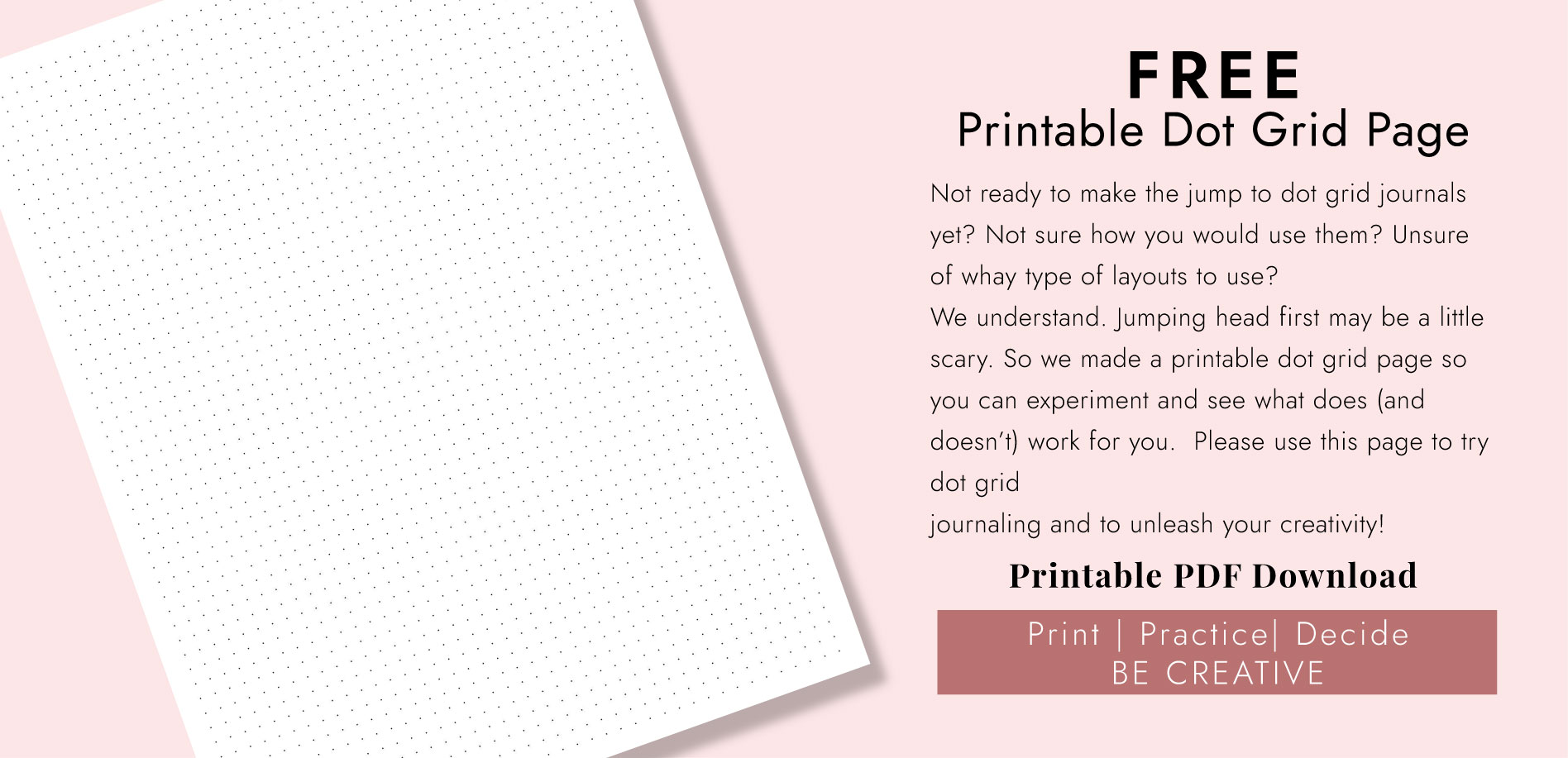 Free Printable Bullet Journal / Dot Grid Page