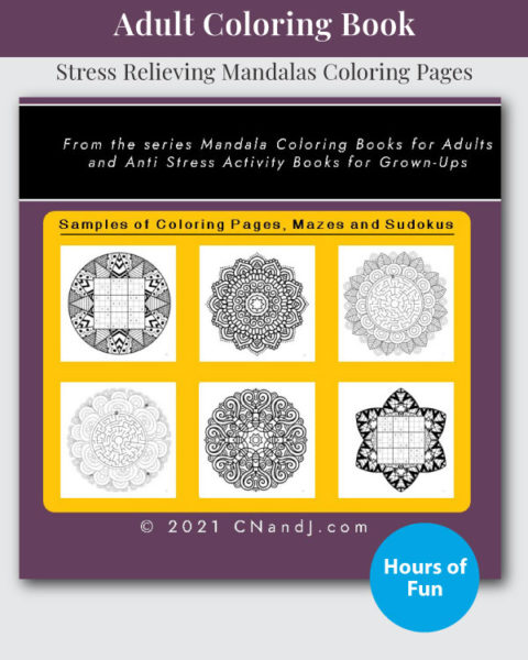 Mandala, Mazes, and Sudoku Coloring and Activity Book Back Cover