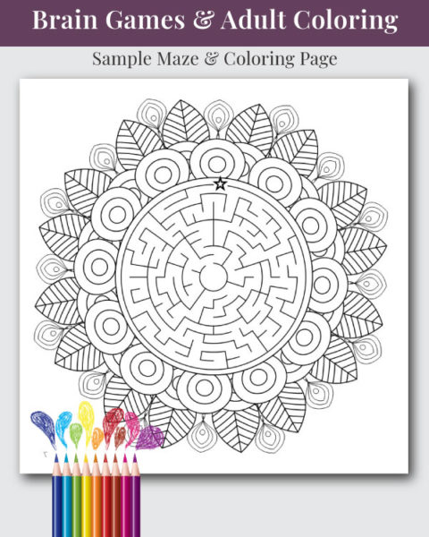 Mandala, Mazes, and Sudoku Coloring and Activity Book Interior Page