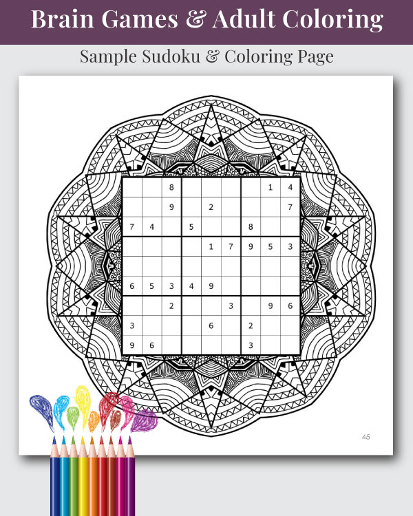 Mandala, Mazes, and Sudoku Coloring and Activity Book Interior Page