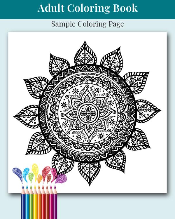 Mandalas and More Adult Coloring Book Sample Image 2
