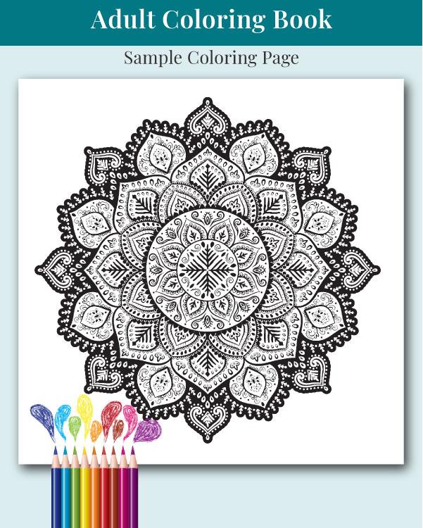 Mandalas and More Adult Coloring Book Sample Image 3
