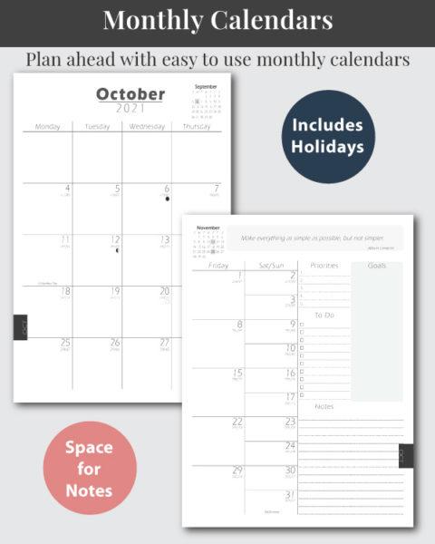 Math Themed Lesson Planner - Monthly Calendar