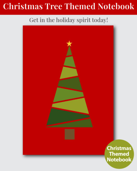 Christmas Tree Themed Notebook with Gift Budge Tracker - Cover