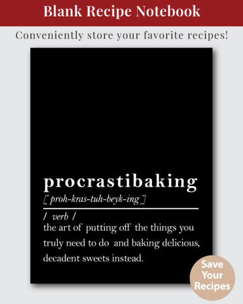 Procrastibaking Dictionary Definition Recipe Book Cover