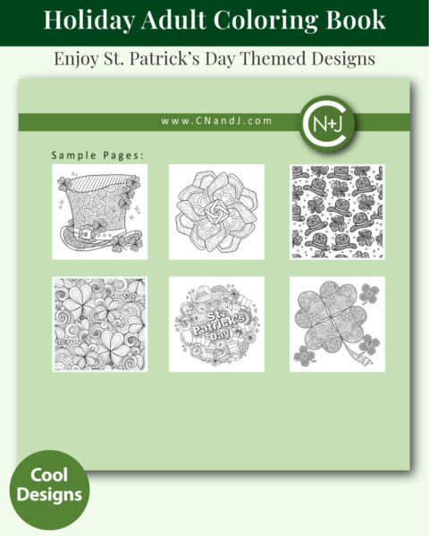 St. Patrick's Day Holiday Coloring Book for Adults Back Cover