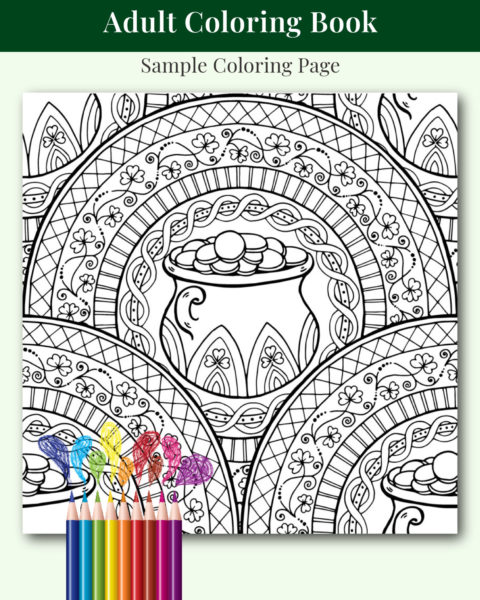St. Patrick's Day Adult Coloring Book Sample Page