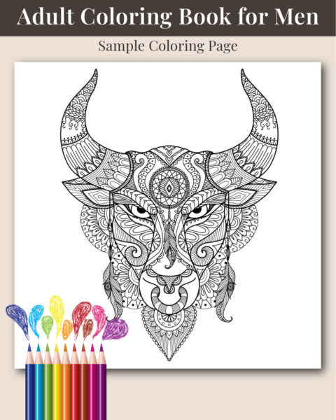 The Ultimate Adult coloring Book for Men Sample Page