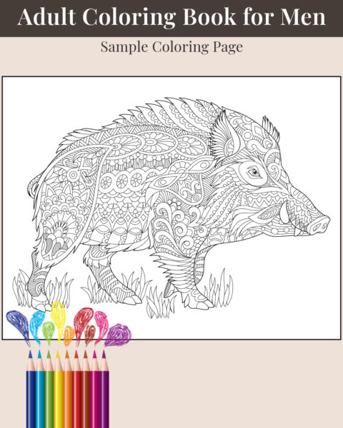 The Ultimate Adult Coloring Book for Men Volume 2 Sample Page