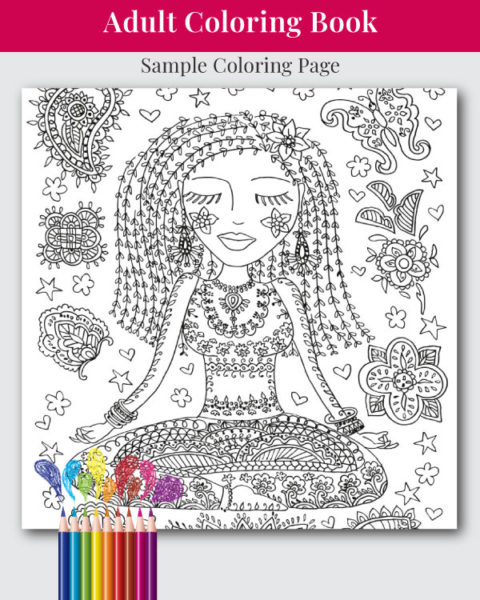 Yoga - An Adult Coloring Book Sample Coloring Page