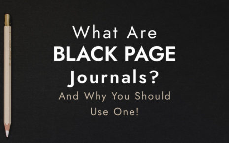 A banner for the blog post about black paper journals