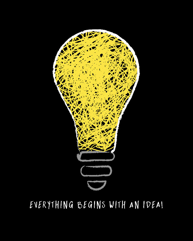 Notebook cover with a lightbulb drawing