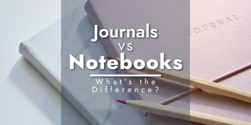 Notebooks vs journals with a stack of journals in the background