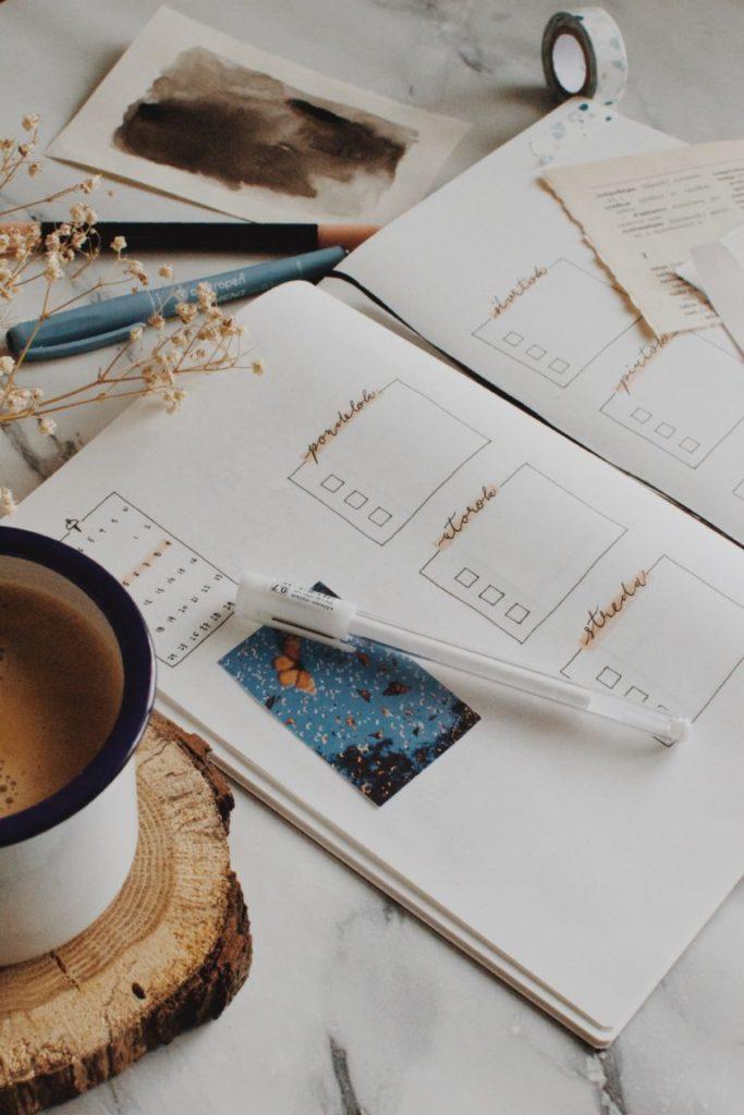 An open journal with a list
