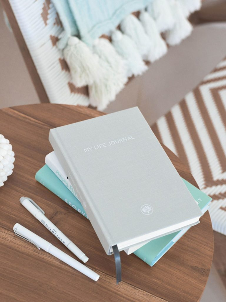 A stack of journals on a table